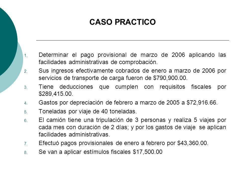 CASO PRACTICO 1. Determinar el pago provisional de marzo de 2006 aplicando las facilidades administrativas de comprobación. 2. Sus ingresos efectivame