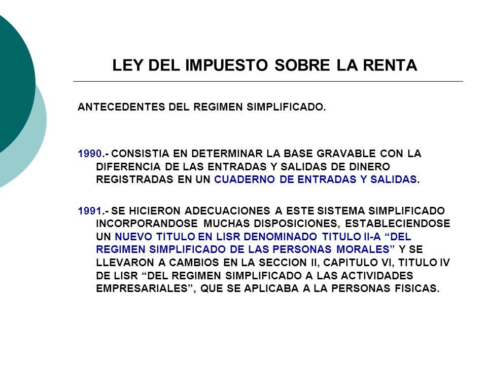LEY DEL IMPUESTO SOBRE LA RENTA ANTECEDENTES DEL REGIMEN SIMPLIFICADO. 1990.- CONSISTIA EN DETERMINAR LA BASE GRAVABLE CON LA DIFERENCIA DE LAS ENTRAD
