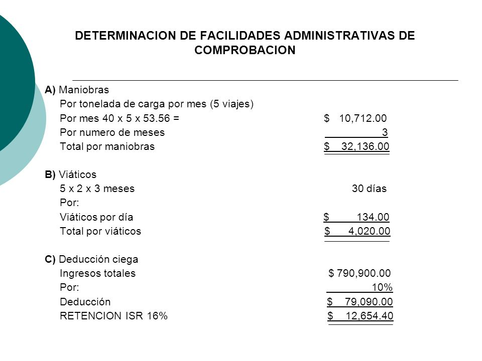 DETERMINACION DE FACILIDADES ADMINISTRATIVAS DE COMPROBACION A) Maniobras Por tonelada de carga por mes (5 viajes) Por mes 40 x 5 x 53.56 = $ 10,712.0