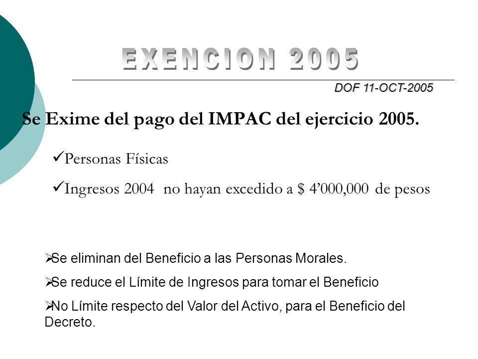 Se Exime del pago del IMPAC del ejercicio 2005. DOF 11-OCT-2005 Personas Físicas Ingresos 2004 no hayan excedido a $ 4000,000 de pesos Se eliminan del