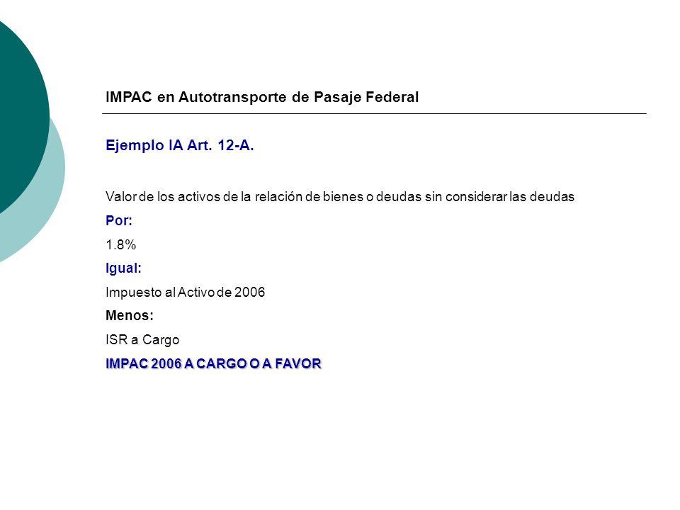 IMPAC en Autotransporte de Pasaje Federal Ejemplo IA Art. 12-A. Valor de los activos de la relación de bienes o deudas sin considerar las deudas Por: