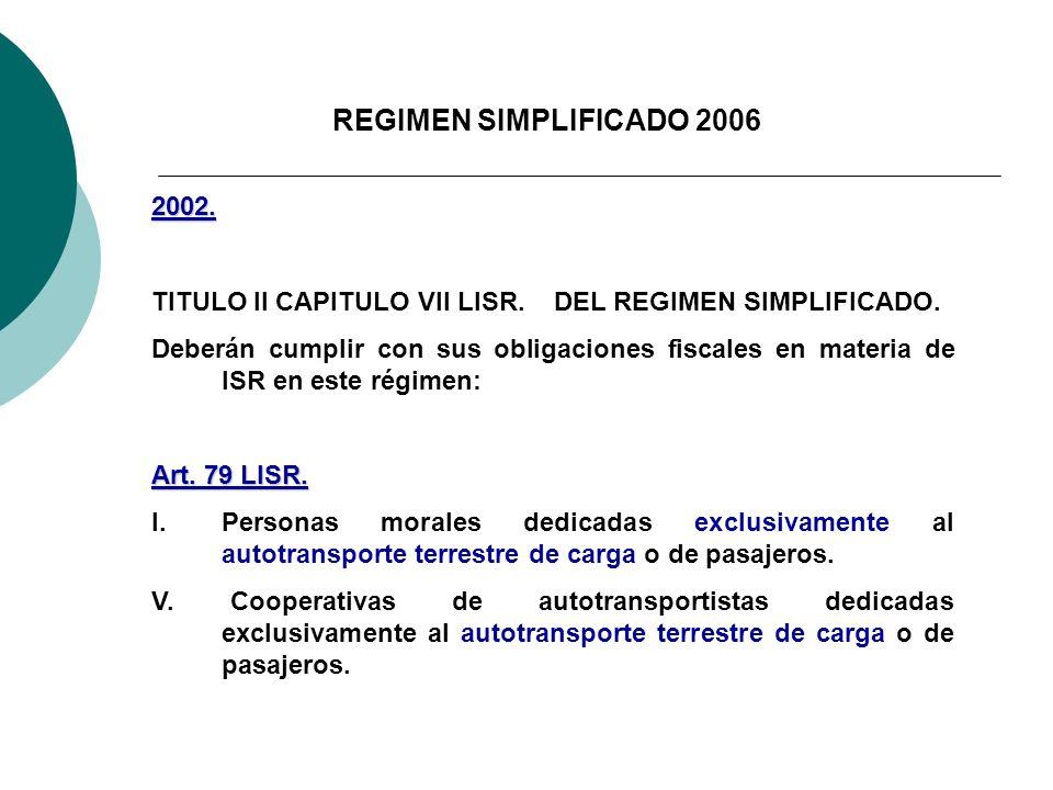 REGIMEN SIMPLIFICADO 2006 2002. TITULO II CAPITULO VII LISR. DEL REGIMEN SIMPLIFICADO. Deberán cumplir con sus obligaciones fiscales en materia de ISR