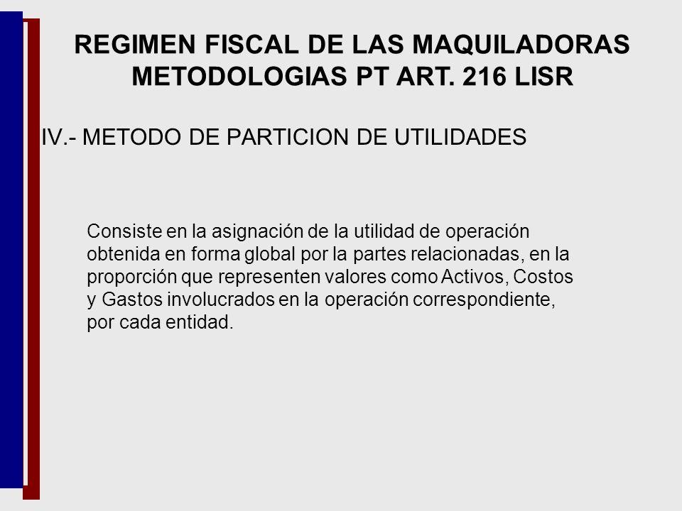 IV.- METODO DE PARTICION DE UTILIDADES Consiste en la asignación de la utilidad de operación obtenida en forma global por la partes relacionadas, en l
