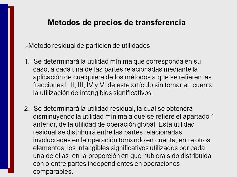 Metodos de precios de transferencia.-Metodo residual de particion de utilidades 1.- Se determinará la utilidad mínima que corresponda en su caso, a ca