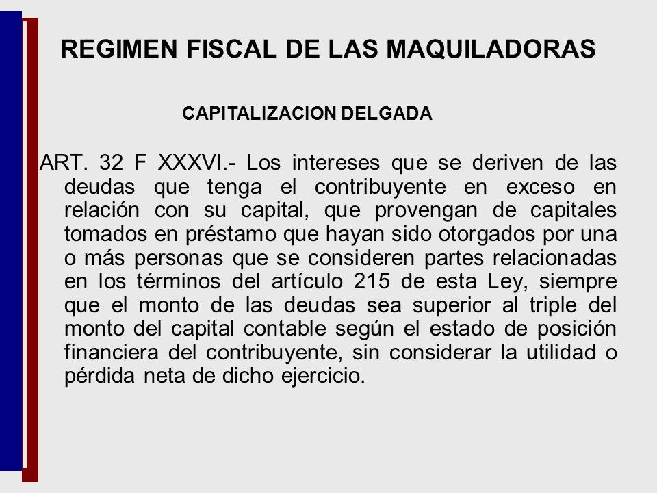 ART. 32 F XXXVI.- Los intereses que se deriven de las deudas que tenga el contribuyente en exceso en relación con su capital, que provengan de capital