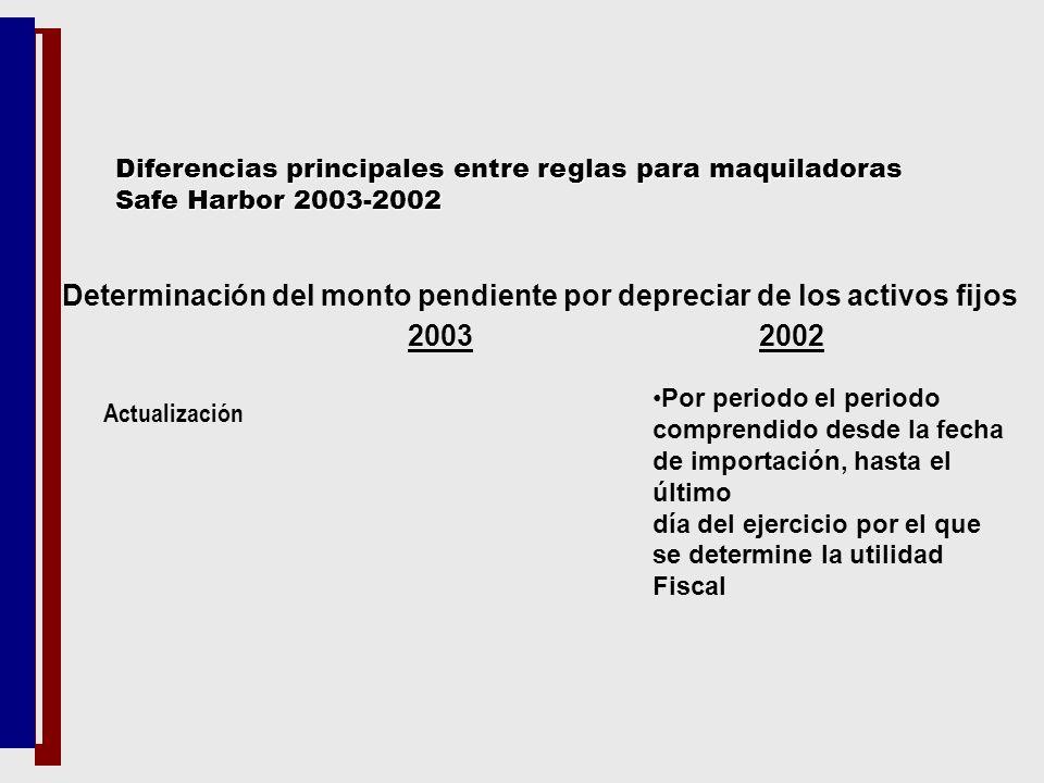 Determinación del monto pendiente por depreciar de los activos fijos 2003 2002 Actualización Por periodo el periodo comprendido desde la fecha de impo