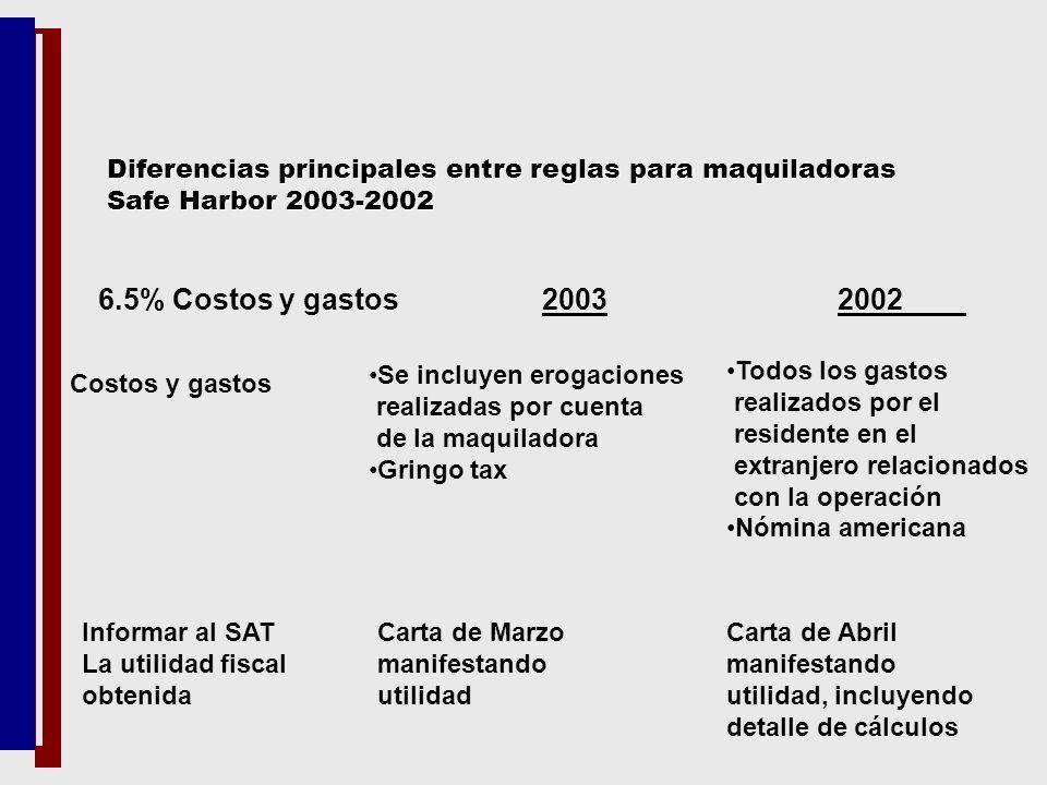 6.5% Costos y gastos 2003 2002 Costos y gastos Se incluyen erogaciones realizadas por cuenta de la maquiladora Gringo tax Todos los gastos realizados
