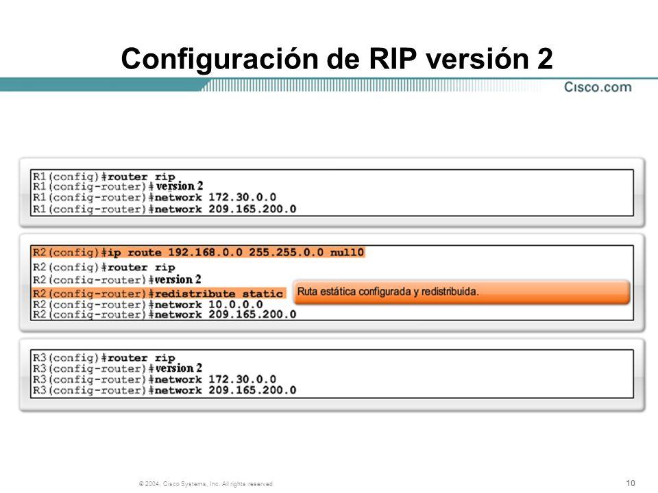 10 © 2004, Cisco Systems, Inc. All rights reserved. Configuración de RIP versión 2