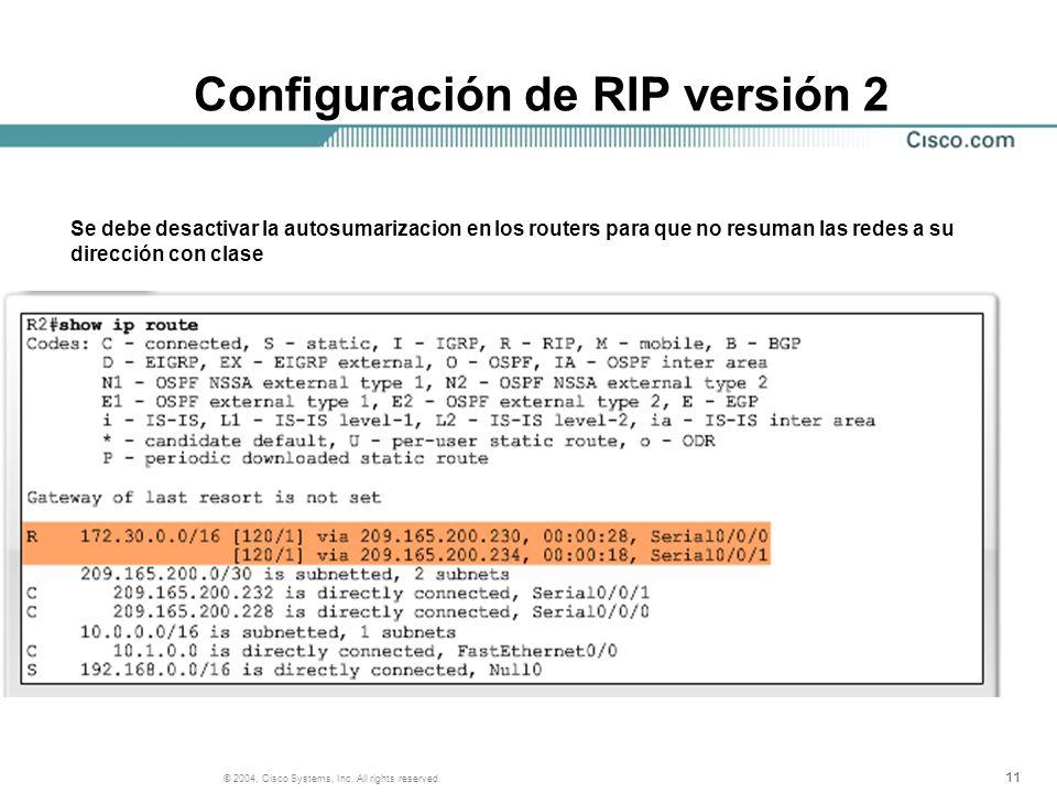 11 © 2004, Cisco Systems, Inc. All rights reserved. Configuración de RIP versión 2 Se debe desactivar la autosumarizacion en los routers para que no r