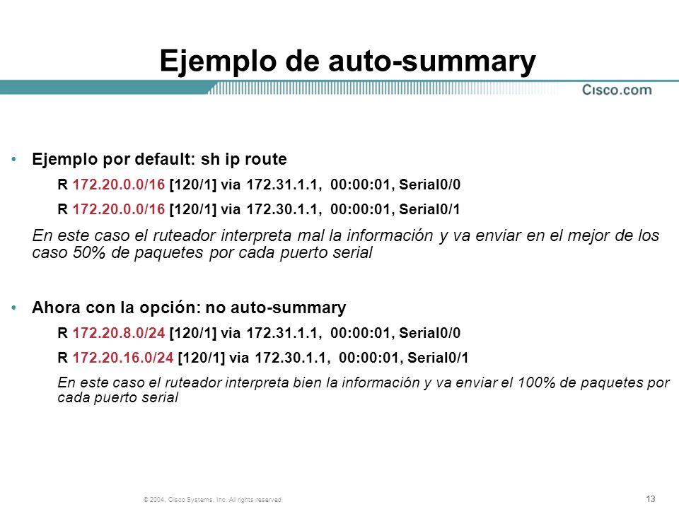 13 © 2004, Cisco Systems, Inc. All rights reserved. Ejemplo de auto-summary Ejemplo por default: sh ip route R 172.20.0.0/16 [120/1] via 172.31.1.1, 0