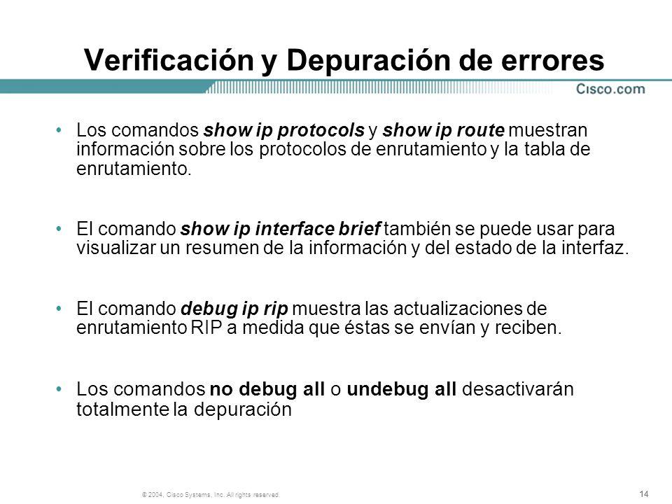 14 © 2004, Cisco Systems, Inc. All rights reserved. Verificación y Depuración de errores Los comandos show ip protocols y show ip route muestran infor