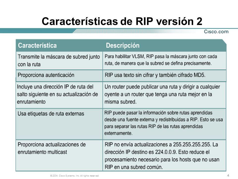 444 © 2004, Cisco Systems, Inc. All rights reserved. Características de RIP versión 2