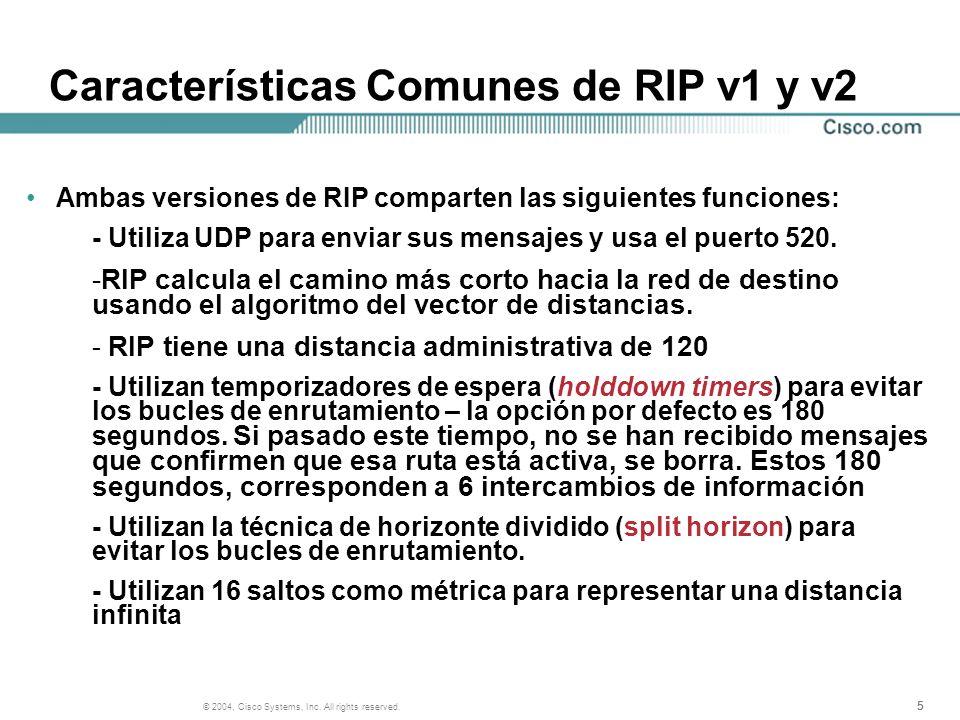 555 © 2004, Cisco Systems, Inc. All rights reserved. Características Comunes de RIP v1 y v2 Ambas versiones de RIP comparten las siguientes funciones: