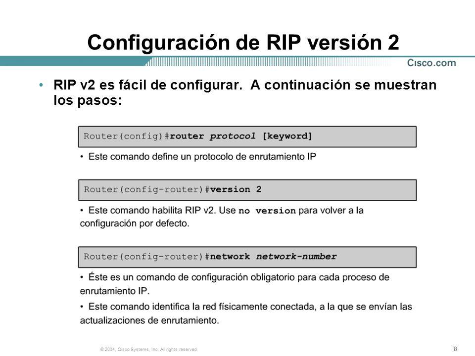 888 © 2004, Cisco Systems, Inc. All rights reserved. Configuración de RIP versión 2 RIP v2 es fácil de configurar. A continuación se muestran los paso