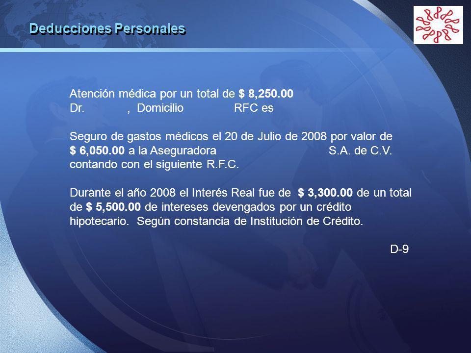 LOGO Atención médica por un total de $ 8,250.00 Dr., Domicilio RFC es Seguro de gastos médicos el 20 de Julio de 2008 por valor de $ 6,050.00 a la Aseguradora S.A.
