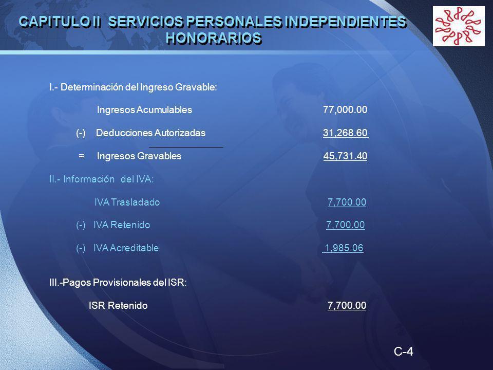 LOGO I.- Determinación del Ingreso Gravable: Ingresos Acumulables 77,000.00 (-) Deducciones Autorizadas 31,268.60 = Ingresos Gravables 45,731.40 II.- Información del IVA: IVA Trasladado 7,700.00 (-) IVA Retenido 7,700.00 (-) IVA Acreditable 1,985.06 III.-Pagos Provisionales del ISR: ISR Retenido 7,700.00 CAPITULO II SERVICIOS PERSONALES INDEPENDIENTES HONORARIOS C-4