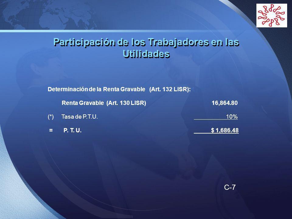 LOGO Determinación de la Renta Gravable (Art. 132 LISR): Renta Gravable (Art.