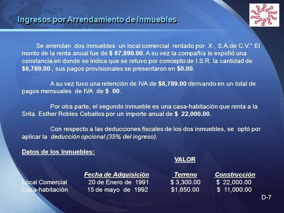 LOGO Se arrendan dos inmuebles un local comercial rentado por X, S.A.de C.V. El monto de la renta anual fue de $ 87,890.00.