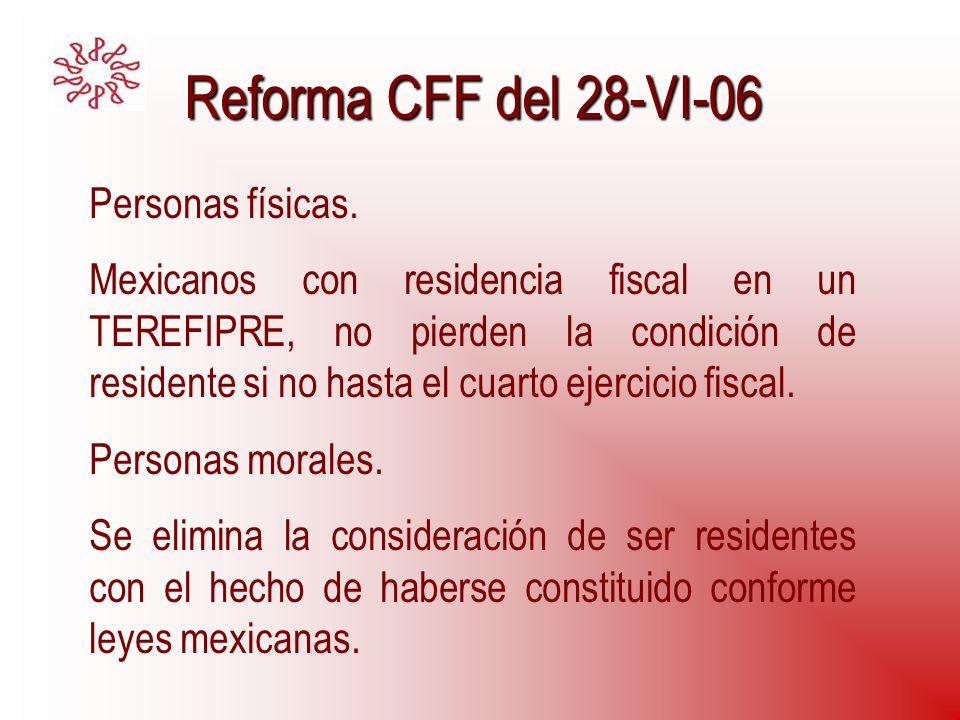 Reforma CFF del 28-VI-06 Personas físicas. Mexicanos con residencia fiscal en un TEREFIPRE, no pierden la condición de residente si no hasta el cuarto