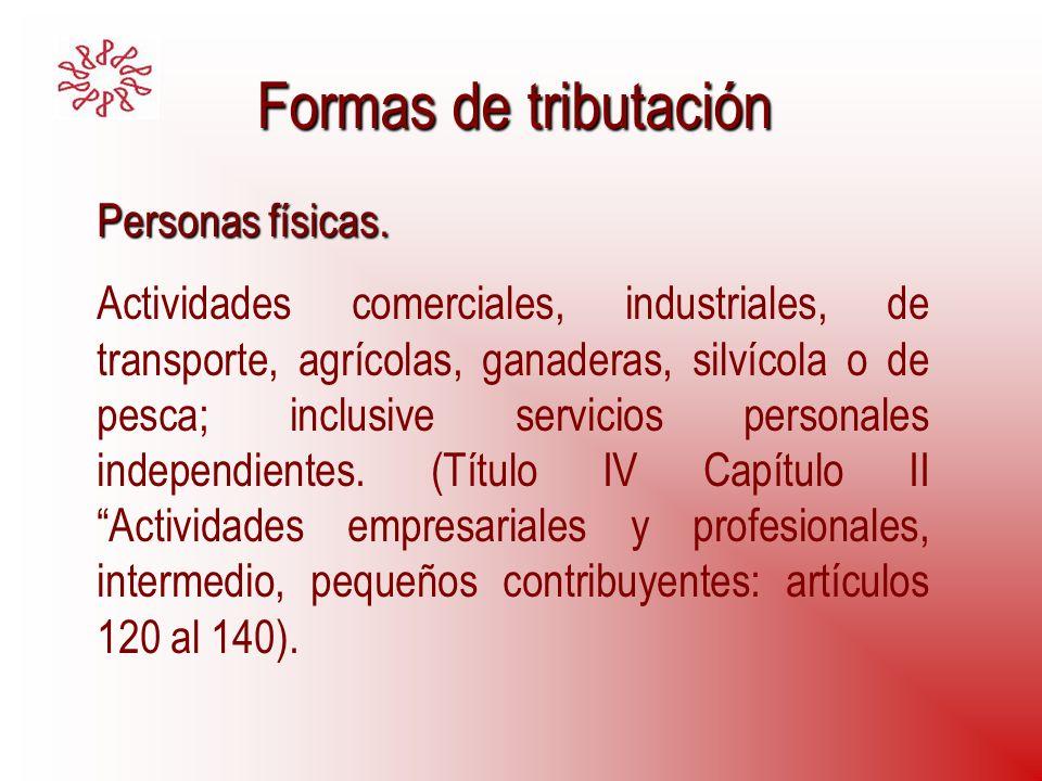 Formas de tributación Personas físicas. Actividades comerciales, industriales, de transporte, agrícolas, ganaderas, silvícola o de pesca; inclusive se