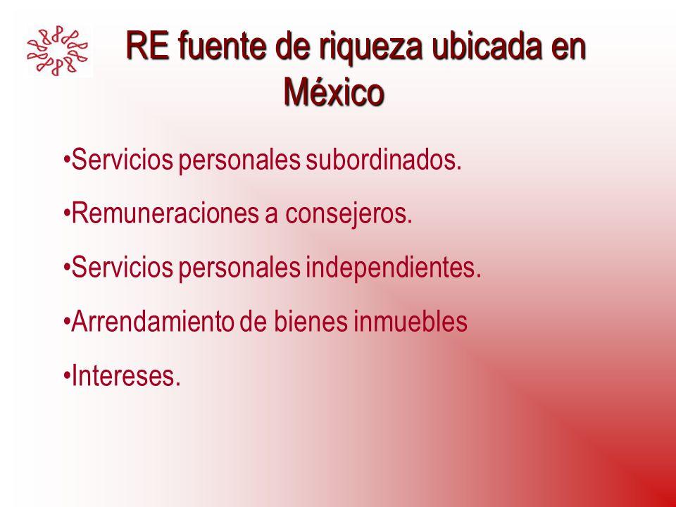 RE fuente de riqueza ubicada en México RE fuente de riqueza ubicada en México Servicios personales subordinados. Remuneraciones a consejeros. Servicio