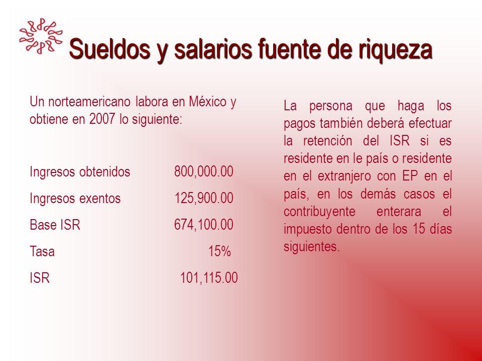 Sueldos y salarios fuente de riqueza Sueldos y salarios fuente de riqueza Un norteamericano labora en México y obtiene en 2007 lo siguiente: Ingresos