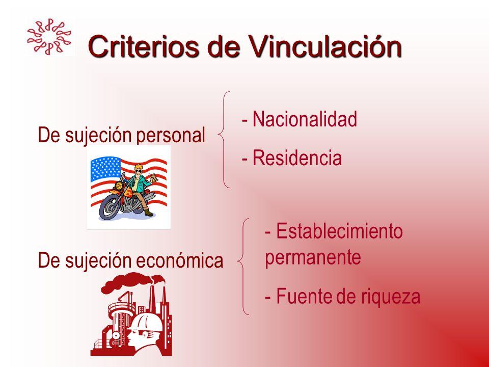 Criterios de Vinculación De sujeción personal De sujeción económica - Nacionalidad - Residencia - Establecimiento permanente - Fuente de riqueza
