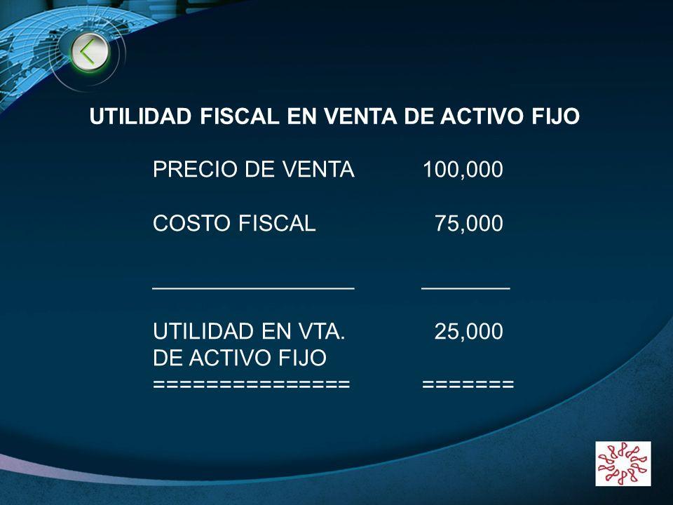 LOGO www.themegallery.com UTILIDAD FISCAL EN VENTA DE ACTIVO FIJO PRECIO DE VENTA100,000 COSTO FISCAL 75,000 _______________________ UTILIDAD EN VTA.