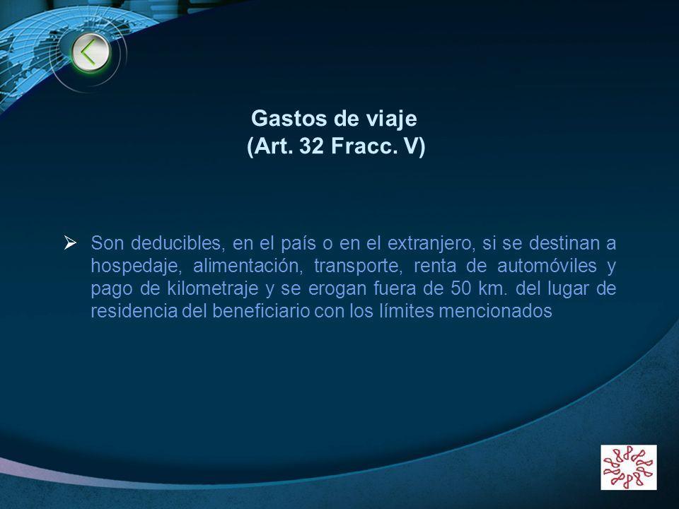 LOGO www.themegallery.com Gastos de viaje (Art. 32 Fracc. V) Son deducibles, en el país o en el extranjero, si se destinan a hospedaje, alimentación,