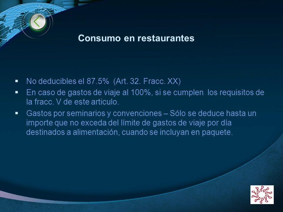 LOGO www.themegallery.com Consumo en restaurantes No deducibles el 87.5% (Art. 32. Fracc. XX) En caso de gastos de viaje al 100%, si se cumplen los re