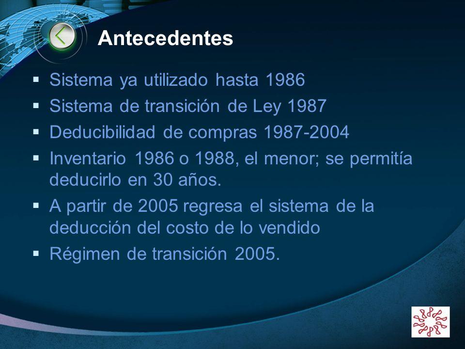 LOGO www.themegallery.com Antecedentes Sistema ya utilizado hasta 1986 Sistema de transición de Ley 1987 Deducibilidad de compras 1987-2004 Inventario