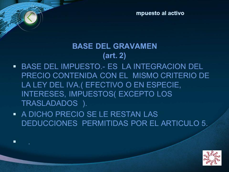 LOGO www.themegallery.com BASE DEL GRAVAMEN (art. 2) BASE DEL IMPUESTO.- ES LA INTEGRACION DEL PRECIO CONTENIDA CON EL MISMO CRITERIO DE LA LEY DEL IV