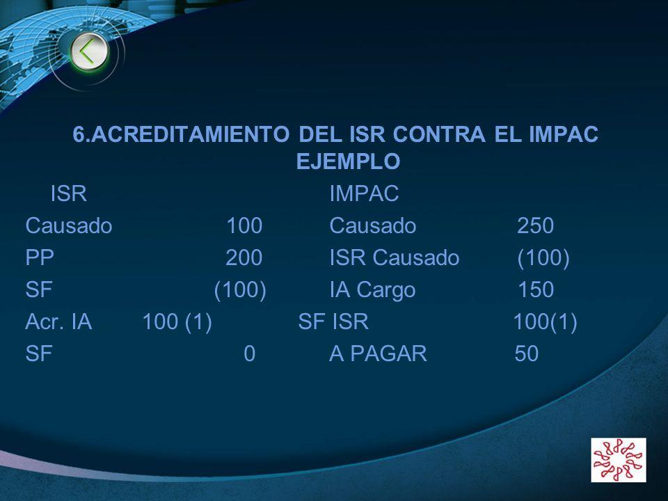 LOGO 6.ACREDITAMIENTO DEL ISR CONTRA EL IMPAC EJEMPLO ISR IMPAC Causado100 Causado 250 PP200 ISR Causado (100) SF (100) IA Cargo 150 Acr. IA 100 (1) S