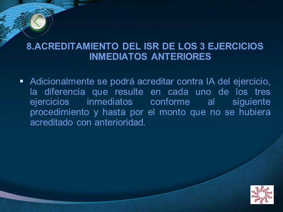LOGO 8.ACREDITAMIENTO DEL ISR DE LOS 3 EJERCICIOS INMEDIATOS ANTERIORES Adicionalmente se podrá acreditar contra IA del ejercicio, la diferencia que r