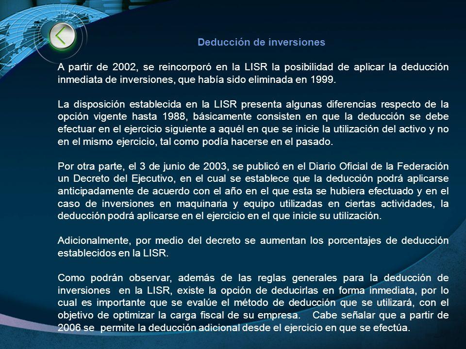 LOGO www.themegallery.com Deducción de inversiones A partir de 2002, se reincorporó en la LISR la posibilidad de aplicar la deducción inmediata de inv