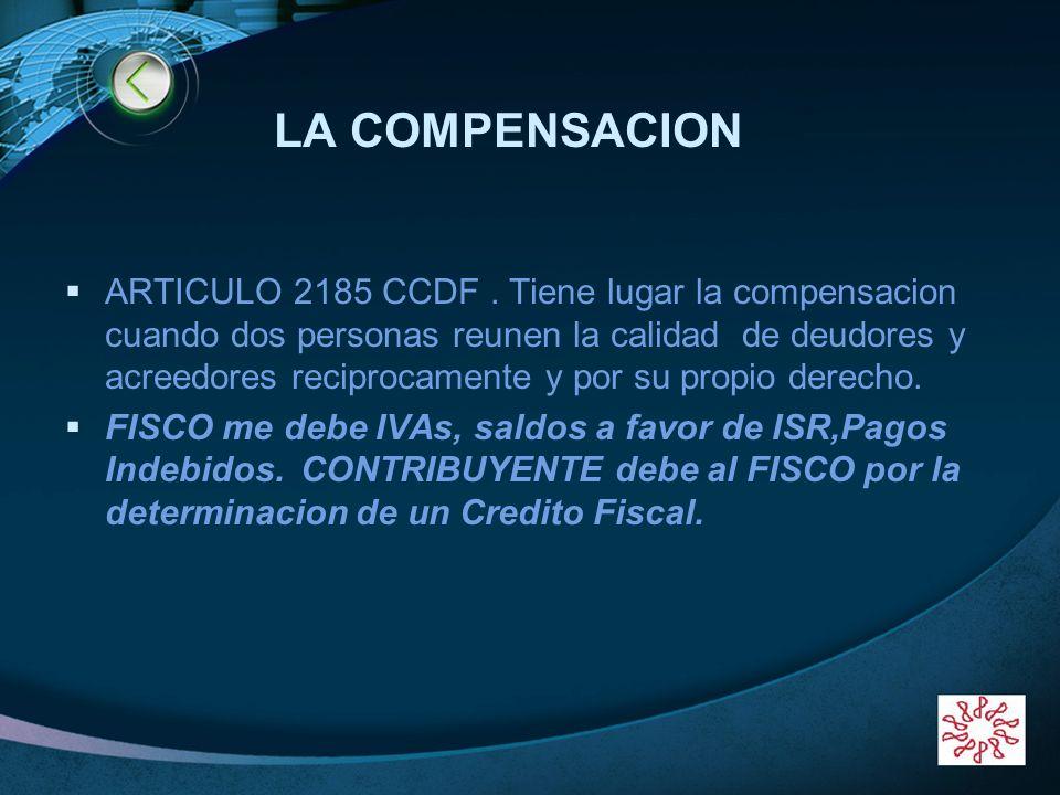 LOGO LA COMPENSACION ARTICULO 2185 CCDF. Tiene lugar la compensacion cuando dos personas reunen la calidad de deudores y acreedores reciprocamente y p