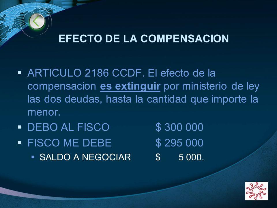 LOGO EFECTO DE LA COMPENSACION ARTICULO 2186 CCDF. El efecto de la compensacion es extinguir por ministerio de ley las dos deudas, hasta la cantidad q