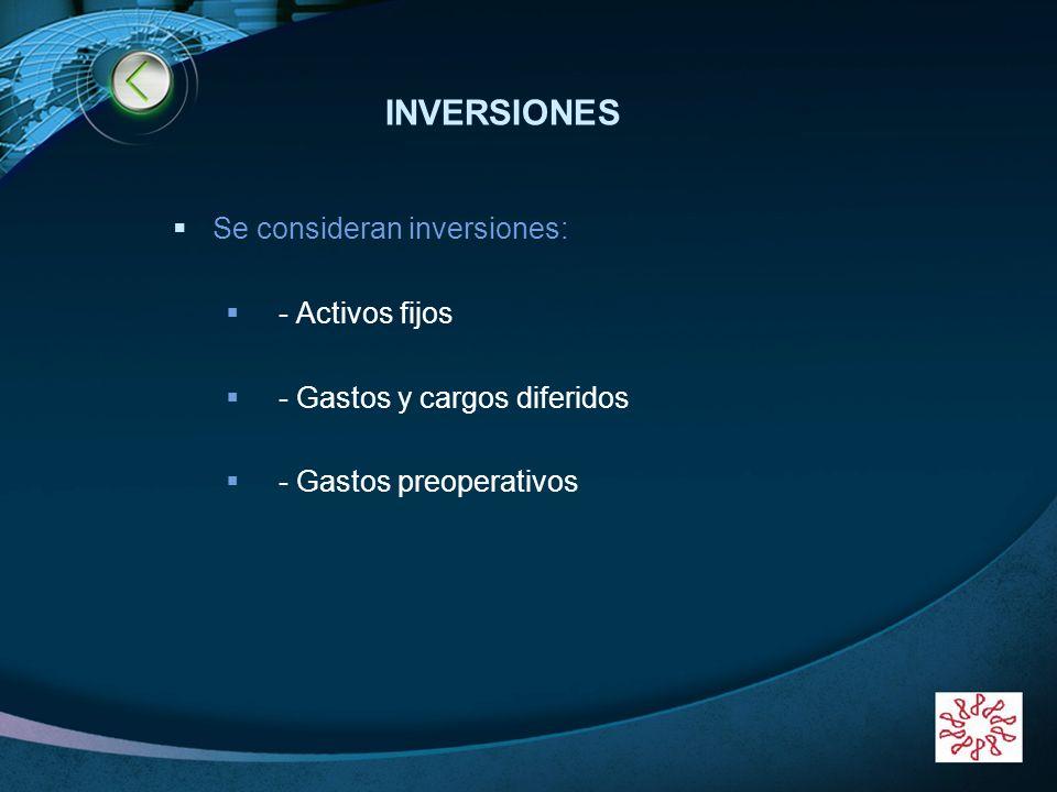 LOGO www.themegallery.com INVERSIONES Se consideran inversiones: - Activos fijos - Gastos y cargos diferidos - Gastos preoperativos