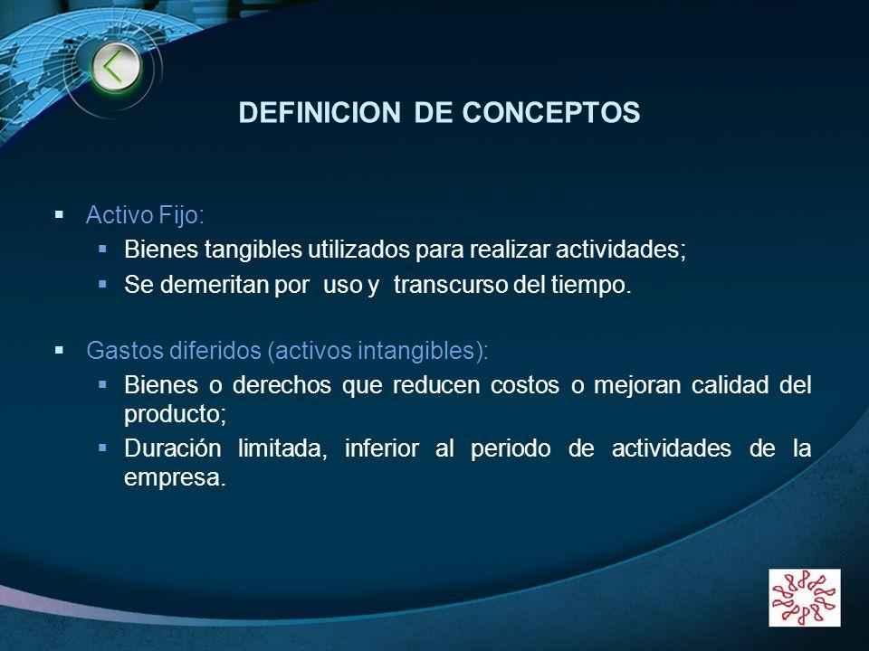LOGO www.themegallery.com DEFINICION DE CONCEPTOS Activo Fijo: Bienes tangibles utilizados para realizar actividades; Se demeritan por uso y transcurs