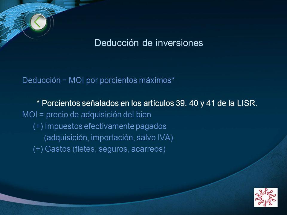 LOGO www.themegallery.com Deducción de inversiones Deducción = MOI por porcientos máximos* * Porcientos señalados en los artículos 39, 40 y 41 de la L