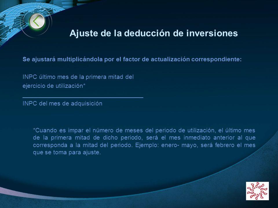 LOGO www.themegallery.com Ajuste de la deducción de inversiones Se ajustará multiplicándola por el factor de actualización correspondiente: INPC últim