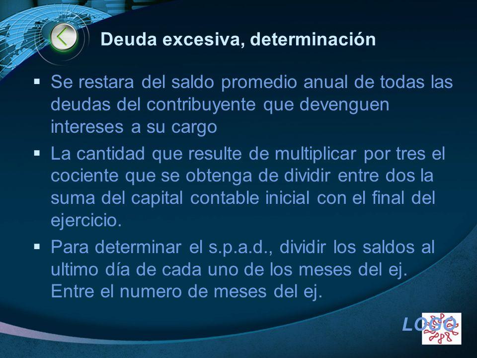 LOGO Deuda excesiva, determinación Se restara del saldo promedio anual de todas las deudas del contribuyente que devenguen intereses a su cargo La can