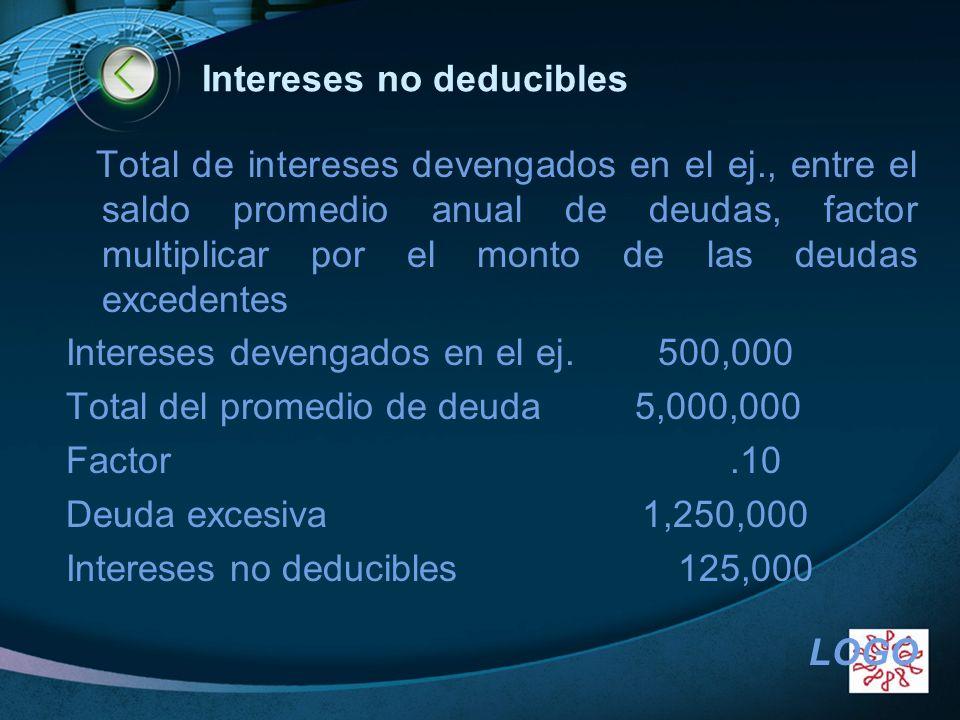 LOGO Intereses no deducibles Total de intereses devengados en el ej., entre el saldo promedio anual de deudas, factor multiplicar por el monto de las