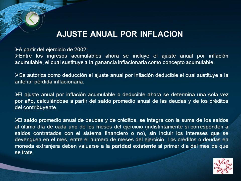 LOGO www.themegallery.com A partir del ejercicio de 2002: Entre los ingresos acumulables ahora se incluye el ajuste anual por inflación acumulable, el