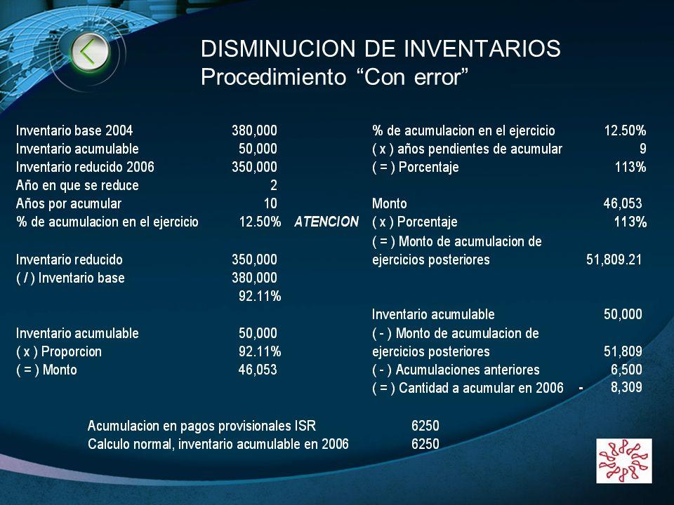 LOGO www.themegallery.com DISMINUCION DE INVENTARIOS Procedimiento Con error