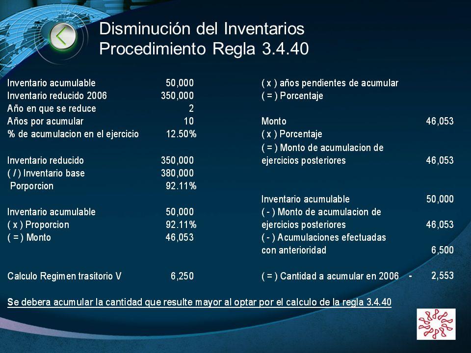 LOGO www.themegallery.com Disminución del Inventarios Procedimiento Regla 3.4.40