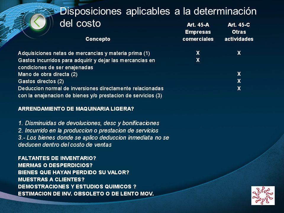 LOGO www.themegallery.com Disposiciones aplicables a la determinación del costo