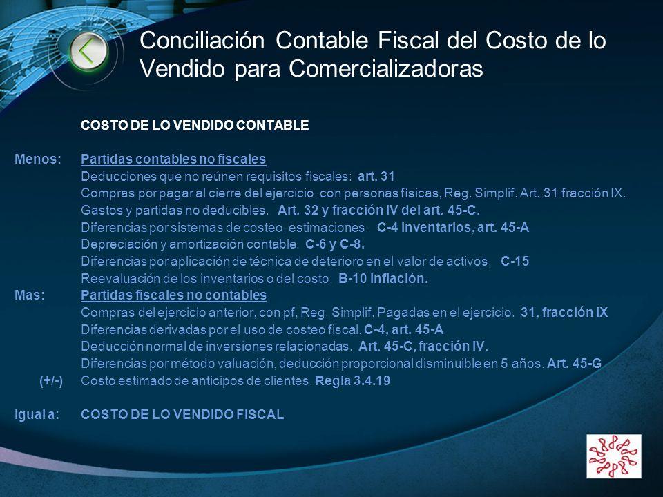 LOGO www.themegallery.com Conciliación Contable Fiscal del Costo de lo Vendido para Comercializadoras COSTO DE LO VENDIDO CONTABLE Menos:Partidas cont