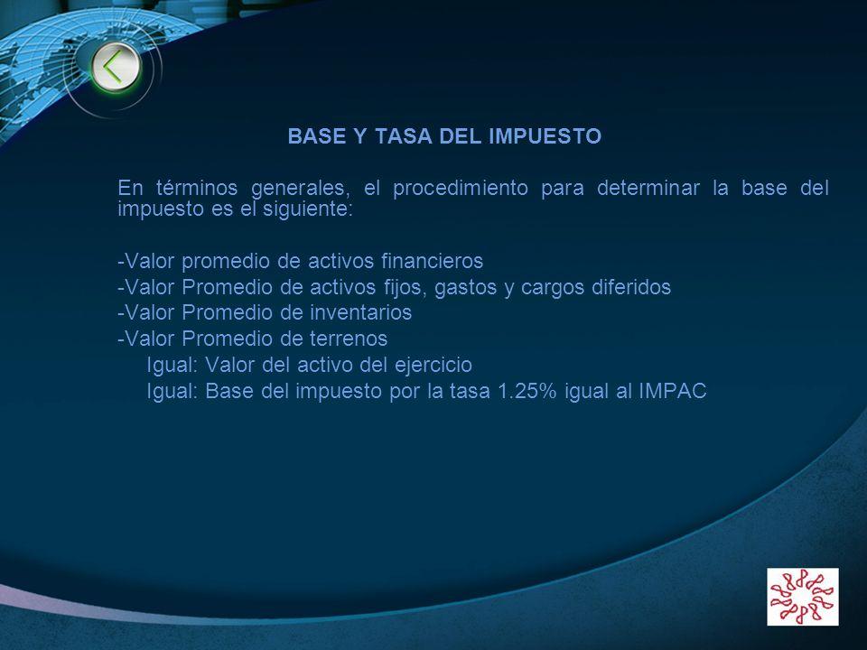LOGO BASE Y TASA DEL IMPUESTO En términos generales, el procedimiento para determinar la base del impuesto es el siguiente: -Valor promedio de activos