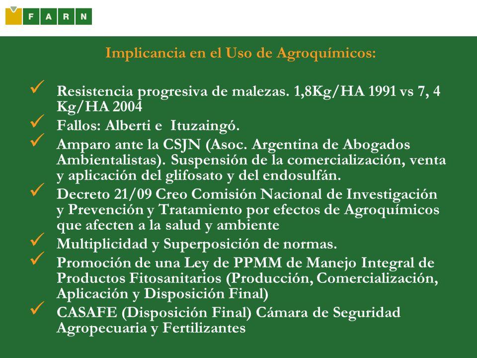 Implicancia en el Uso de Agroquímicos: Resistencia progresiva de malezas. 1,8Kg/HA 1991 vs 7, 4 Kg/HA 2004 Fallos: Alberti e Ituzaingó. Amparo ante la